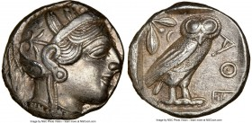 ATTICA. Athens. Ca. 440-404 BC. AR tetradrachm (23mm, 17.18 gm, 8h). NGC AU 5/5 - 4/5. Mid-mass coinage issue. Head of Athena right, wearing crested A...