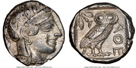 ATTICA. Athens. Ca. 440-404 BC. AR tetradrachm (24mm, 17.18 gm, 4h). NGC AU 5/5 - 4/5. Mid-mass coinage issue. Head of Athena right, wearing crested A...