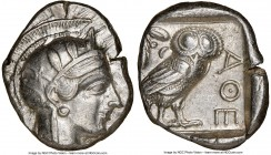 ATTICA. Athens. Ca. 440-404 BC. AR tetradrachm (25mm, 17.18 gm, 7h). NGC AU 4/5 - 4/5. Mid-mass coinage issue. Head of Athena right, wearing crested A...