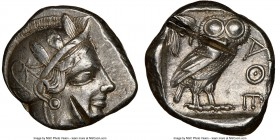 ATTICA. Athens. Ca. 440-404 BC. AR tetradrachm (25mm, 17.16 gm, 6h). NGC Choice XF 4/5 - 1/5, test cuts. Mid-mass coinage issue. Head of Athena right,...