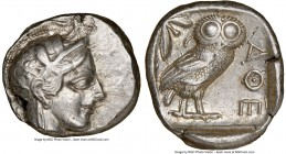 ATTICA. Athens. Ca. 440-404 BC. AR tetradrachm (24mm, 17.15 gm, 10h). NGC XF 5/5 - 4/5. Mid-mass coinage issue. Head of Athena right, wearing crested ...
