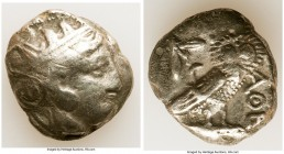 ATTICA. Athens. Ca. 393-294 BC. AR tetradrachm (24mm, 18.41 gm, 7h). About Fine. Late mass coinage issue. Head of Athena with eye in true profile righ...