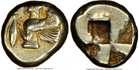 MYSIA. Cyzicus. Ca. 550-500 BC. EL sixth-stater or hecte (11mm, 2.68 gm) NGC XF 3/5 - 5/5. Half-length bust of a winged female deity left, holding tun...