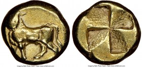 MYSIA. Cyzicus. Ca. 500-450 BC. EL sixth-stater or hecte (10mm, 2.60 gm). NGC Choice VF 3/5 - 4/5. Man-headed bull standing left on tunny fish / Quadr...
