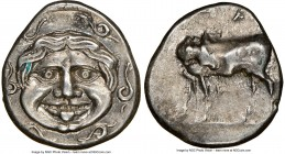 MYSIA. Parium. Ca. 4th century BC. AR hemidrachm (14mm, 11h). NGC AU. Head of Gorgoneion facing, tongue protruding below upper row of teeth, coiled sn...