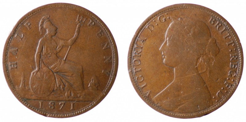 Great britain. Victoria half penny 1871 scarce date