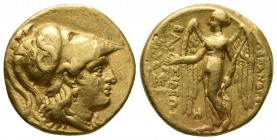 Kings of Macedonia, in the name of Alexander III the Great, 336-323 BC, posthumous issue, AU stater, Babylon Mint, ca. 317-311 BC. Head of Athena wear...