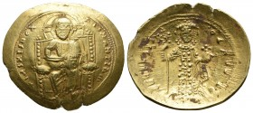 Byzantine Empire, Constantine X Ducas 1059-1067 AD, AU histamenon, Constantinople mint Christ nimbate seated frontally on the throne, wearing tunic an...