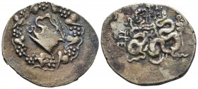 Mysia under Roman Republic, Pergamon, ca. 76-67 BC AR cistophoric tetradrachm Within ivy wreath a serpent emerging from open cista mystica. Two serpen...