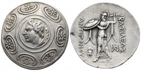 Kings of Macedonia, Antigonos II Gonatas, 277-239 BC, AR tetradrachm, Amphipolis Mint, ca. after 271/270 BC. Macedonian shield decorated with stars an...