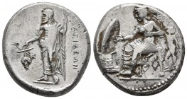 Cilicia, Nagidus, ca. 400-355 BC, AR stater Aphrodite seated on the throne left, holding patera over altar decorated with laurel girland, behind her s...
