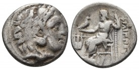 Kings of Macedonia, Philip III Arrhidaios, 323-317 BC, AR drachm, Kolophon Mint, ca. 323-319 BC. Head of Herakles wearing lion's scalp right Zeus seat...