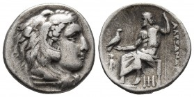 Kings of Macedonia, Alexander III the Great, 336-323 BC, lifetime issue, AR drachm, Abydos Mint, ca. 328-323 BC. Head of Herakles wearing lion's scalp...