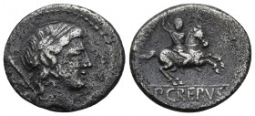 P. Crepusius, AR denarius, Rome Mint, 82 BC. Laureate head of Apollo right, behind sceptre; Horseman brandishing spear right, in exergue P∙CREPVSI, in...
