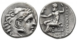 Kings of Macedonia, Alexander III the Great, 336-323 BC, posthumous issue, AR drachm, Erythrae Mint, ca. 290-275 BC. Head of Herakles wearing lion's s...
