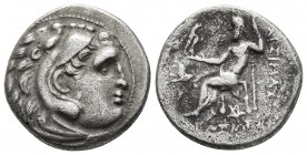 Kings of Thrace, Lysimachos 305-281 BC, AR drachm, Kolophon Mint, ca. 299-296 BC. Head of Herakles wearing lion's scalp right Zeus seated left, holdin...