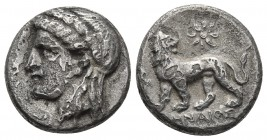 Ionia, Miletos, magistrate Lenaios, ca. 350-340 BC AR drachm Laureate head of Apollon left Lion walking left, head turned to right. Above star, in the...