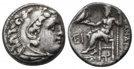 Kings of Macedonia, in the name of Alexander III the Great, 336-323 BC, posthumous issue, AR drachm, Kolophon Mint, ca. 319-310 BC. Head of Herakles w...
