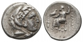Kings of Macedonia, in the name of Alexander III the Great, 336-323 BC, lifetime issue, AR drachm, Lampsakos Mint, ca. 328-323 BC. Head of Herakles we...