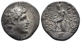 Seleucid Kings, Alexander I Balas 152-145 BC, AR drachm, Antiochia on the Orontes Mint, year 164/5 = 149/147 BC Diademed head of Alexander I right Apo...