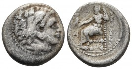Kings of Macedonia, in the name of Alexander III the Great, 336-323 BC, posthumous issue, AR drachm, Miletos Mint, ca. 323-319 BC. Head of Herakles we...