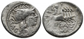 L. Antestius Gragulus, AR denarius, Rome Mint, 136 BC. Helmeted head of Roma right, behind GRAG Quadriga driven by Jupiter holding sceptre and thunder...