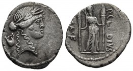 P. Clodius M. f. Turrinus, AR denarius, Rome Mint, 42 BC. Laureate head of Apollo right, behind lyre Diana standing facing, holding two long torches, ...