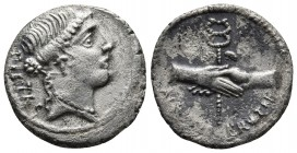 D. Postumius Albinus Bruti f., AR denarius, Rome Mint, 48 BC. Head of Pietas right, behind PIETAS Clasped hands holding caduceus, ALBINVS. BRVTI. F be...