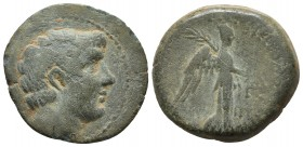 Cilicia, Soloi-Pompeiopolis, ca. 1 cent. BC - 1 cent AD, AE Bare head of Pompey the Great right Nike advancing right, holding wreath and palm branch S...