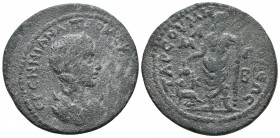 Cilicia, Tarsos, Herennia Etruscilla 249-251 AD, AE Diademed and draped bust of Etruscilla right, crescents on shoulders Dionysos standing left, head ...