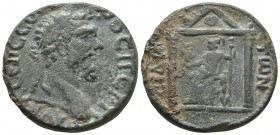 Pamphylia, Side, Septimius Severus 193-211 AD, AE Laureate head of Septimius Severus right Distyle temple, within Minerva seated left, holding Victory...