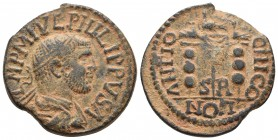 Pisidia, Antiochia, Philippus I 244-249 AD Radiate, draped and cuirassed bust of Philippus I, seen from behind, right Vexilium between two legionary s...