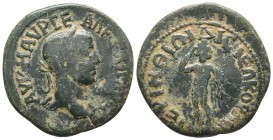 Thrace, Perinthos, Alexander Sever 222-235 AD, AE Laureate head of Alexander Severus right Athlete standing frontally, head turned right, holding pal ...