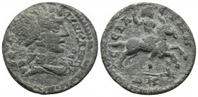 Phrygia, Sebaste, pseudo-autonomous issue, ca. 218-235 AD, AE Diademed and draped bust of Synkletos right Emperor riding horse right, throwing spear a...