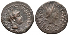 Galatia, Iconium, Nero 54-68 AD, AE Laureate head of Nero right. Head of Perseus with harpa over shoulder RPC I 3545 20.3mm / 4.9g
