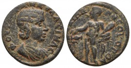 Ionia, Smyrna, Tranquillina 238-244 AD Diademed and draped bust of Tranquillina right Hercules standing left, holding club and lion's skin, pouring ca...