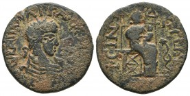 Phrygia, Isinda, Valerianus I or Gallienus 253-268 AD Laureate and draped bust of emperor right Woman sitting on the throne right, holding infant, to ...