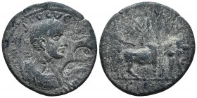 Cilicia, Ninica-Claudiopolis, Maximinus I 235-238 AD, AE Laureate and cuirassed bust of Maximinus I right. Two countermarks Colonist plowing with two ...