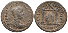 Pamphylia, Perge, Philippus I 244-249 AD, AE Laureate, draped and cuirassed bust of Philippus I, seen from behind, right. Within distyle temple cult s...