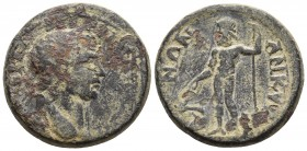 Galatia, Ancyra, Traianus 98-117 AD Laureate head of Traianus right Zeus standing left, holding sceptre and rudder ? SNG Von Aulock 8328 25.3mm / 12.6...