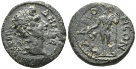 Phrygia, Akmoneia, pseudo-autonomous issue, time of Gallienus 253-268 AD, AE Diademed head of Demos right Dionysos standing left, pouring from canthar...
