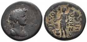 Phrygia, Laodicea ad Lycum, period of the reign of Titus 79-81 AD, AE Diademed bust of Demos right Half-naked figure standing left, holding branch and...