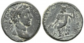 Syria, Cyrrhus, Commodus 177-192 AD, AE Laureate head of Commodus right Zeus seated left on the rock, holding thunderbolt and sceptre BMC 28cf 23.4mm ...