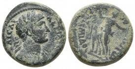 Pamphilia, Perge, Hadrianus 117-138 AD, AE Laureate bust of Hadrianus, with drapery on far shoulder, right Artemis advancing left, head turned right R...