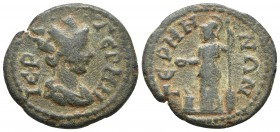 Mysia, Germe, pseudo-autonomous issue, ca. mid 3 cent. AD, AE Turreted and draped bust of Tyche right Athena standing left, holding spear, shield and ...