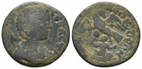 Lydia, Sardes, Julia Domna 193-217 AD, AE Draped bust of Julia Domna right Eagle with spread wings, beneath infant Zeus seated SNG Vona Aulock 3157 22...