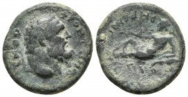 Jonia, Smyrna, pseudo-autonomous issue, ca. 84 AD, AE Head of Heracles right River god reclining left, holding reeds and urn from which water flows RP...