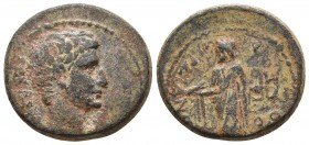 Lydia, Sardes, Augustus 27 BC - 14 AD, AE Bare head of Augustus right Zeus standing left, holding eagle and staff RPC I 2986 19.4mm / 5.5g
