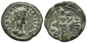 Bithynia, Calchedon, Annia Faustina ca. 221-222 AD, AE Draped bust of Annia Faustina right Female personification standing left, holding patera Waddin...