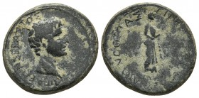 Aeolis, Aegae, Augustus ca. 10-1 BC, AE Bare head of Augustus right Apollo standing right, holding taenia and laurel branch RPC I 2427 20.5mm / 6g